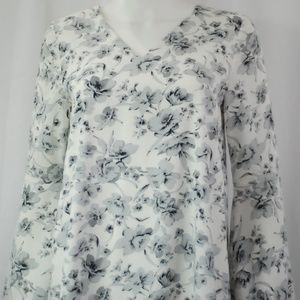NWT White Gray Floral Long Sleeve Dress Sz S